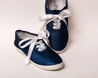 Glitter - Navy Blue CVO Custom Canvas Sneakers Shoes with Satin Ribbon Laces