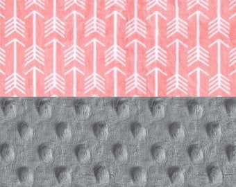SALE 42 x 55 Minky Blanket Girl,  Coral Arrow Personalized Baby Blanket Crib size // Gray Coral Baby Blanket // Custom Blanket // Arrow Blan