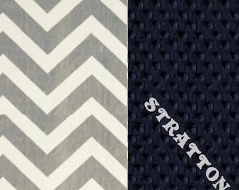 SALE Minky Baby Blanket Boy, Blue Gray Chevron Personalized Baby Blanket - Nursery Decor // Custom Baby Blanket // Navy Chevron Blanket