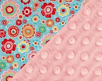 SALE Flower Blanket Personalized Minky Baby Blanket Girl, Flowers Pink Orange Red Blue Cotton Blanket // Name Baby Blanket // Baby Shower Gi