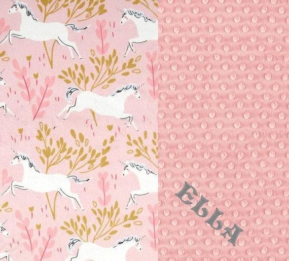 Pink Unicorn Blanket Crib Blanket / 42 x 55 Minky Blanket Girl, Personalized Minky Blanket