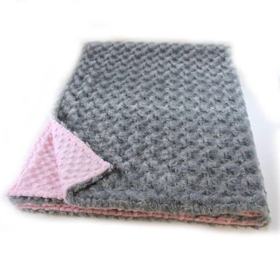 Minky Adult Blanket, Personalized Blanket - Silver Rose & Blush Pink Throw Twin Blanket // Gray Blanket // Minky Throw Blanket