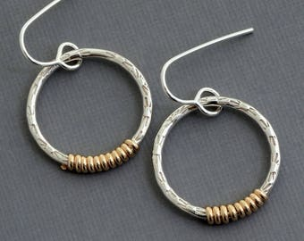 14k gold filled silver hoop earrings two tone earrings mixed metal earrings modern minimalist contemporary jewelry wire wrapped jewelry