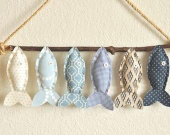 Custom Six Blue Hanging Fish - Nursery Wall Decor - Child's Room Fish Art