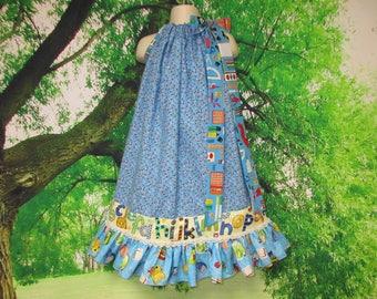 FREE SHIP Girls Dress 6/7 Back To School Blue Floral School Supplies Pillowcase Dress, Pillow Case Dress, Sundress, Boutique Dress