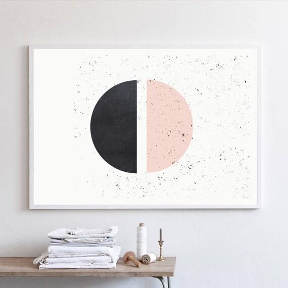 HALF HALF // Mid Century Poster, 24x36, minimalist art print, geometric print, Pastel colors, abstract, half circles