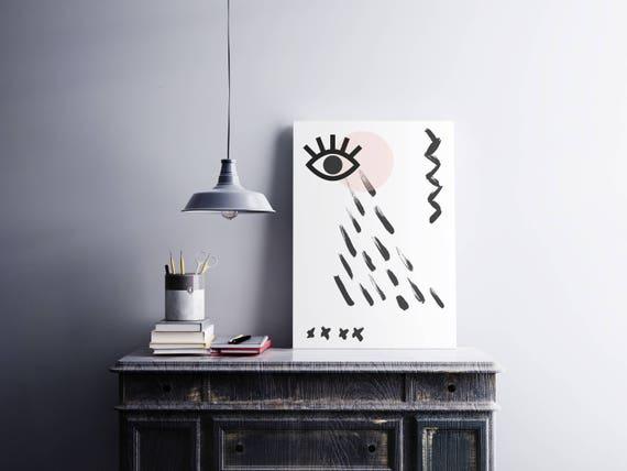 MAUVAIS OEIL 005 // Abstract art, 24x36, minimalist art print, geometric print, Scandinavian style, nordic design, pink, eye