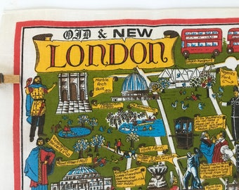 Vintage Souvenir Towel London England Map Old & New LOTS of Details Made in Ireland