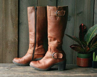 Tall Leather Boots By BOC  US 7.5 Womens Vintage From Nowvintage on Etsy