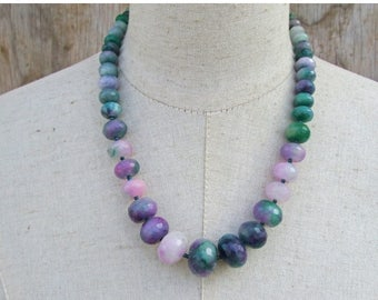 Memorial Day SALE Lavender Green Purple Faceted Chunky Graduated Beaded Single Strand Necklace, Mashan Jade Beads