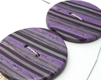 Large Round Buttons Purple Shades Handmade Polymer Clay 40mm