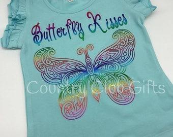 Adorable shirt, butterfly kisses, girl shirt, foil, bling, ruffle sleeve,