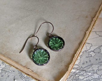 Green Glass Button Earrings Upcycled Jewelry