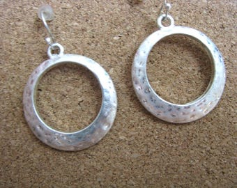 Round hammered silver pewter tone hook earrings