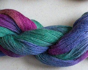 Alpaca Cotton Lace, Hand Painted yarn, 300yds - Aurora