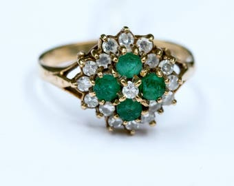 Vintage Ring - Vintage Emerald and Diamond Ring, 9ct Gold