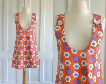 60s Mini Dress MOD Daisy Floral Jumper Dress