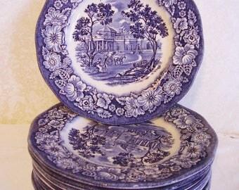 8 Staffordshire Liberty Blue bread plates, Monticello, vintage 1976