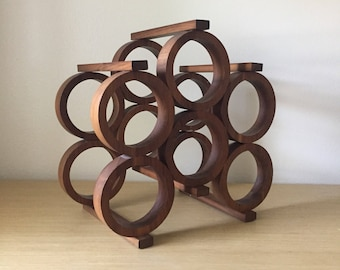 mid century walnut wine rack