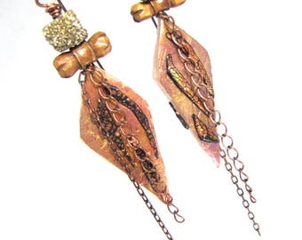 Fraunhofer Lines -  Golden Druzy Polymer Clay, Copper Chain and Carved Wood Long Dangly Boho Nuministachic Earrings