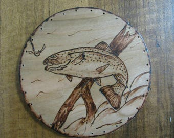 Wood Burnt Image of a Fish with Log Basket Bottom or Other Crafts