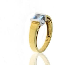Vintage New Topaz Stone ring BICOLORED GOLD 19,2 KT