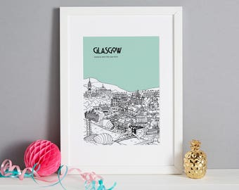 Personalised Glasgow Print | Unique Anniversary Gift | City Illustration | Custom Wedding Gift | Travel Gift | Wall Art | Glasgow Picture