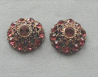 Button Set Large Fancy Victorian Rhinestone Pair