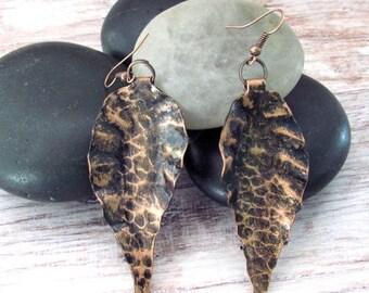 Bohemian Leaf Earrings - Leaf Bohemian Earrings - Leaf Earrings - Hammered Copper Earrings - Bohemian Copper Earrings - Copper Earrings