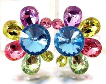 Amazing ARTISAN HEADLIGHT RIVOLI Earrings Pierced Colorful Acrylic Rhinestone
