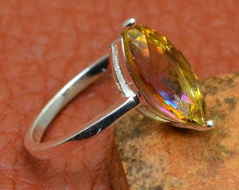 Sterling Silver Marquise Cut Yellow Topaz Gemstone Ring Size 7