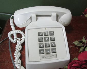 Desk Telephone Push Button White Phone Made in USA