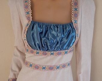 Gunnesax cotton dress, bridal gown, hippie dress, bohemian dress, 1970s dress