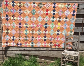 Vintage Feed Sack Patchwork Quilt Hand Tied Floral Orange 86x51""