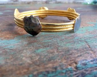 Vintage 80's Brushed Gold Brutalist Style Bangle Bracelet