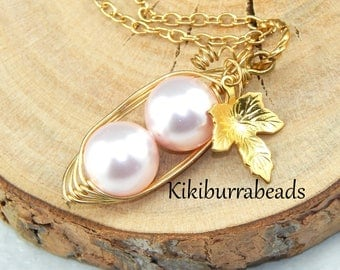 Two Peas In A Pod Necklace,Pink Peas In A Pod Gold Necklace,Sisters Peapod Necklace,Family,Mothers Necklace