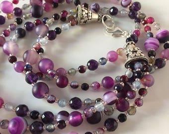 Purple Necklace, 3 Strand Purple Necklace, Purple Amethyst & Agate Necklace, Purple Multi-strand Necklace