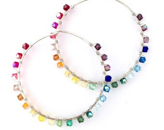 Large Rainbow Hoop Earrings. Large Round Colorful Sterling Silver Swarovksi Crystal Hoop Earrings.
