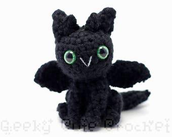 Black Dragon Plush Toy Stuffed Animal Amigurumi Crochet