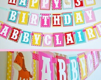 Petting Zoo Birthday Party Banner Decorations Fully Assembled | Farm Animal Banner | Girl Farm Party | Barn Birthday | Farm Birthday Party