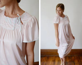 1980s Pink Nightgown with Quilted Yolk - S/M/L