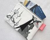 Ghastlies Ballroom Dancers Credit Card Case Zippered Coin Purse Wallet Business Card Holder Alexander Henry White Black Ghastlie GRW
