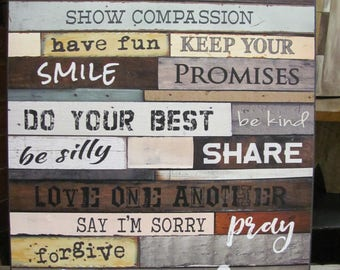 Family Rules,Family Wall Decor,Family Room Decor, Wooden Art Sign,Marla Rae,18x24