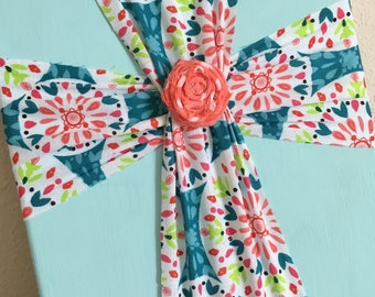 Cross Canvas Wall Art - Fabric Cross Painted Canvas - Christian Decor - Shabby Chic - Turquoise - 8 X 10