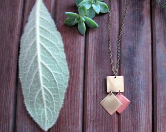 Avenue Necklace - Mixed Metal Necklace - Copper and Brass Geometric Necklace - Artisan Tangleweeds Jewelry