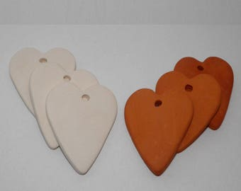 20 Bisque Ceramic Hearts 6 cm Handmade Ceramic Ornaments. Heart Tiles from Clay. Wedding Favors