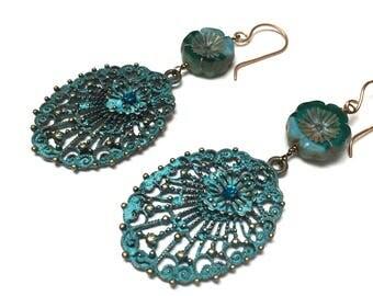 Victorian Filigree Peacock Earrings. Verdigris. Long Drop Earrings. Nature. Romantic. Fairy. Handmade Jewelry.