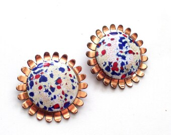 Rare Matisse Earrings, Vintage MATISSE RENOIR Enamel Copper Clip Earrings, Matisse Renoir Jewelry, Modernist Copper Earrings, MCM Copper