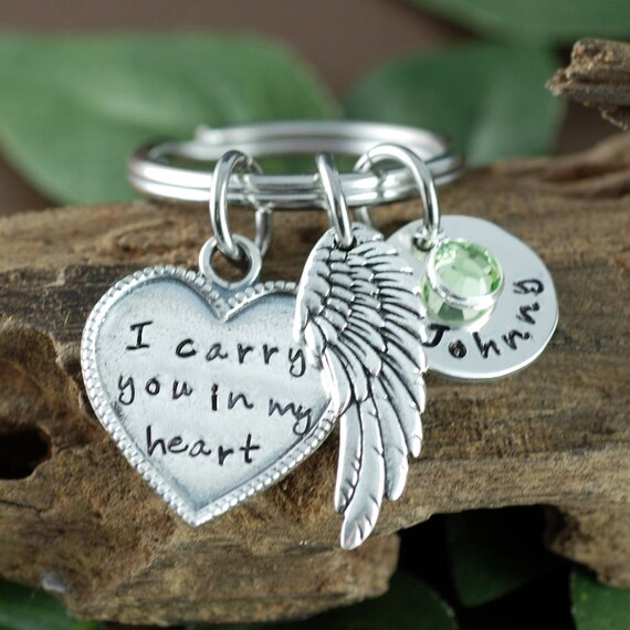 Engraved Keychains, Memorial Keychain, I Carry you in my heart Keychain, Remembrance Keychain, Loss of Loved One, Memorial Keychain