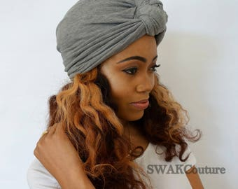 Turban Hat Light Gray Turban Hat Stretchy Cloche Cap Womens Hat Cotton Jersey - or Choose Your Color